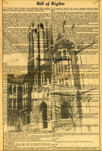 The Student Bill of Rights was printed in the April 14, 1970 edition of the Emmanuel Focus. Click to zoom in and read the Bill of Rights.